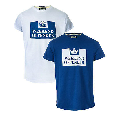 Mens Weekend Offender Siegel 2 Pack Prison Logo T-Shirts In White Navy- One
