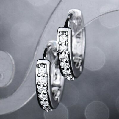 Brilliant White Gold Filled Women Wedding Hoop Earrings Sapphire Crystal Jewelry