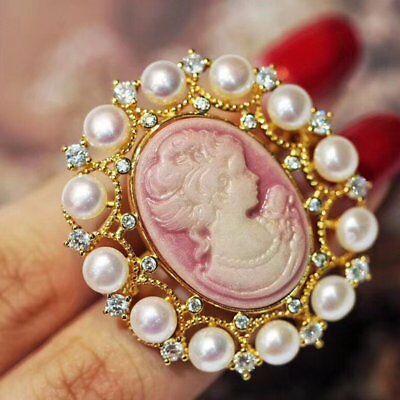 2019 Lady Cameo Pearl Pink Brooch Pin Women Wedding Bridal Broach Party Jewelry