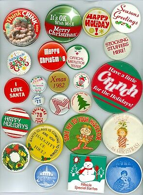 25 Vintage 1970s-90s Christmas Holiday Celebration Pinback Buttons Santa Claus