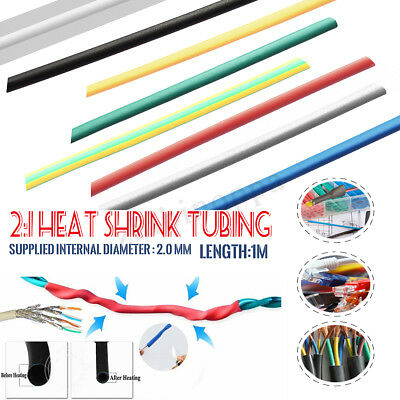 1M 2mm 2:1 Polyolefin Heat Shrink Wire Wrap Assortment Cable Sleeve Tube Tubing