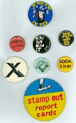 8 Vintage 1960s Hippie Sayings Advertising Pinback Buttons Stamp Out