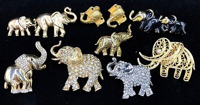 Lot of 8 Vintage & Antique Elephant Accessories - 7 Brooches - 1 Pair of Earring