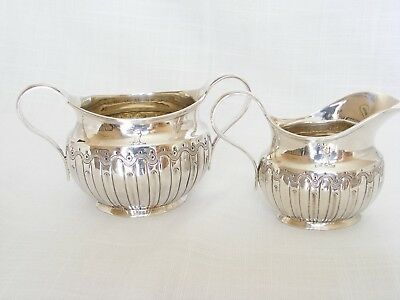 Victorian Solid Silver Sugar Bowl & Cream Jug Strawberry Set – Birm. 1883