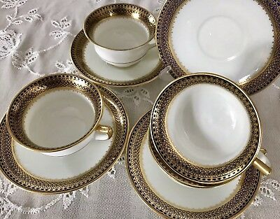Aynsley Antique Cobalt Blue & Gold Cups and Saucers X FOUR Dated 1905-1925