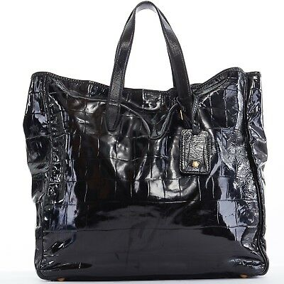 f113b17c632 YVES SAINT LAURENT YSL Raspail black croc embossed patent leather large tote  bag