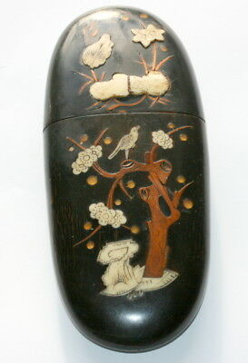 C 1810 , Chinese  Cow Horn Spectacles Case Etui With Cow Bone Inlay, Good Cond