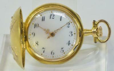 Damentaschenuhr pocketwatch 14 Kt. 585 Gold Diamanten um 1900 28,3 mm überholt