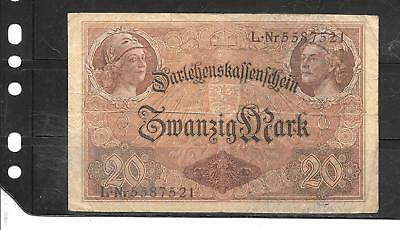 GERMANY GERMAN #48b 1914 20 MARK VG CIRC  OLD ANTIQUE BANKNOTE PAPER MONEY