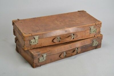 Pair of Early C20th Leather Motoring Trunks / Suit Cases. Ref JQD