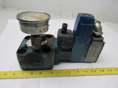 Sperry Vickers 120V Solenoid Controlled Pressure Relief Valve 500-2000PSI