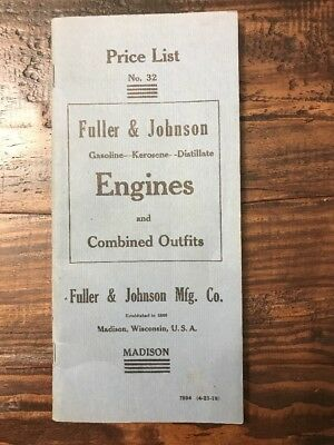 Reproduction Price List #32 Fuller & Johnson Hit Miss Gasoline Kerosene Engines