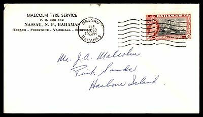 Malcolm Tyre Service Nassau Dec 16 1964 Single Franked Ad Cover To Harbour Islan