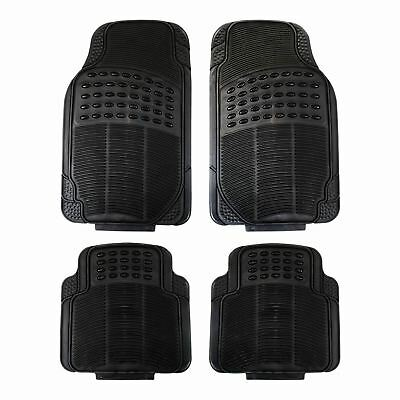 4 Piece Waterproof Heavy Duty BLACK Rubber Front & Rear Car Non-Sl Universal Fit