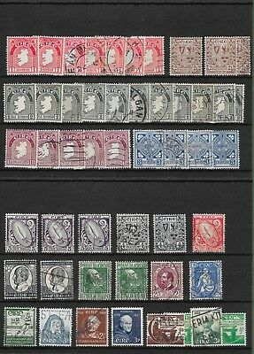 Irish Stamps. Lot of 63 Unchecked From Old Stock Album, Mint & Used.
