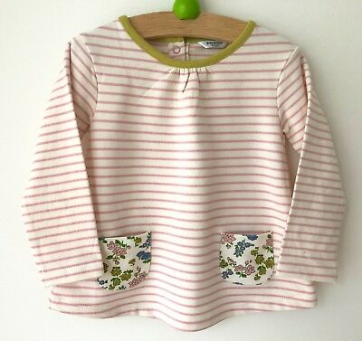 Ex baby Boden girls pink cream striped top 0-3 3-612-18 18-24 months