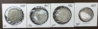 Lot of 4 Great Britain HALF CROWN Silver Coins* 1933* 1935* 1936* 1937