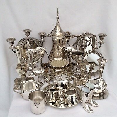 Quality Joblot Of Antique/Vintage Mainly Sheffield Silver Plated Items 9.5 Kg
