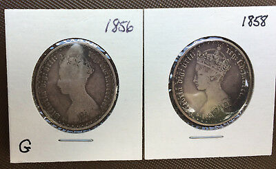 Lot of 2 Great Britain ONE FLORIN Silver Coins* 1856* 1858