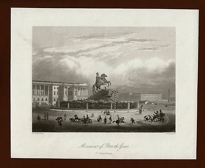 St Petersburg, Monument Peter the Great, Stahlstich steel engraving ca. 1870