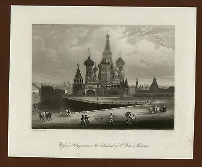 Moskau Moscow Cathedrale Wassili Blagenoi, Stahlstich steel engraving ca. 1870