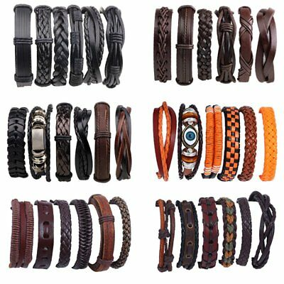 6pcs/set Women Punk Leather Bracelet Wristband Bangle Men Jewelry Party Gift