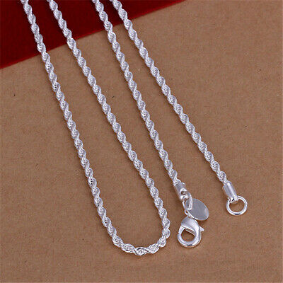 Women Fashion 925 Solid Silver Snake Bead Wave Chains Pendant Necklace 16-24""