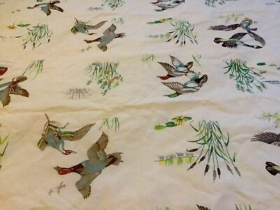 Vintage WILENDUR? Cotton Tablecloth Wild Ducks Geese 52 X 67 HTF