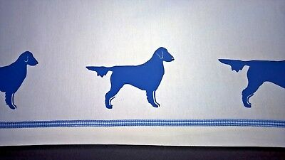 Flat Coated Retreiver Dog Valance white with royal blue dogs & check ribbon SALE