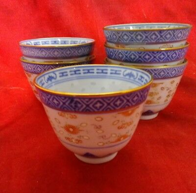 Set 6 Rice Red Made in China Rice Dragon Cups