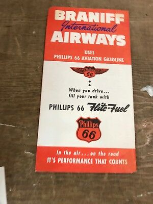 Vintage 1958 Braniff Airways Tickets Jacket Philips 66 Flite-Fuel Ad Nice
