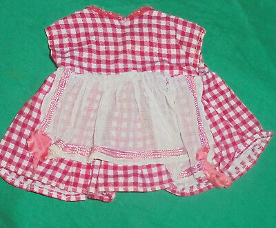 1940S 1950S VINTAGE  DOLL CLOTHES Small Checkered Red/White Dress