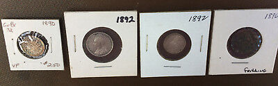 Lot of 4 GREAT BRITAIN COINS* 1890 3 Pence* 1892 3&6  Pence* 1896 farthing