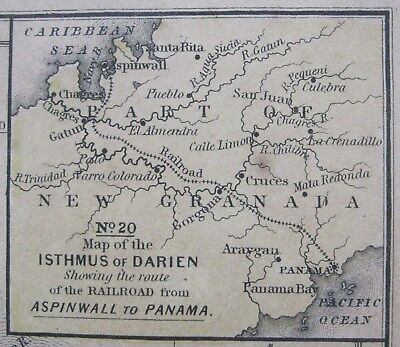 1852 Mitchell Map of S.America:Railroad route across Isthm.of Darien bef. Canal