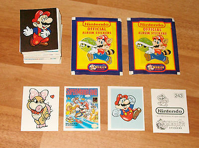 1992 NINTENDO Super Mario Merlin complete set 276 stickers + 5 packs ORIGINAL