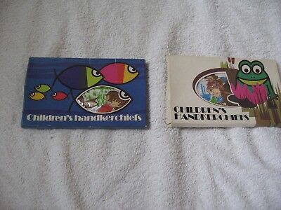 2 Brand New Boxed Unopened Vintage Childrens Handkerchiefs 4 In All Fish, Frog