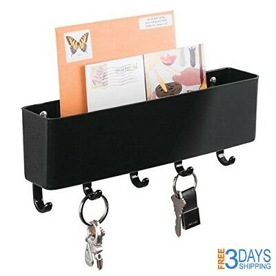 Letter Holder Rack Key Hook Wall Mount Mail Organizer Entryway