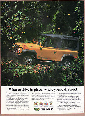 """1995 Land Rover Defender 90 Ad """"What to drive...."""" Print Ad"""