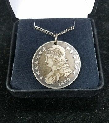 1829 Capped Bust Half Dollar lettered edge Holed & Sterling Silver Chain-J629-