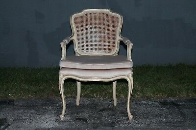 MID CENTURY LOUIS XV style CANED BACK CARVED AND PATINATED SIDE CHAIR