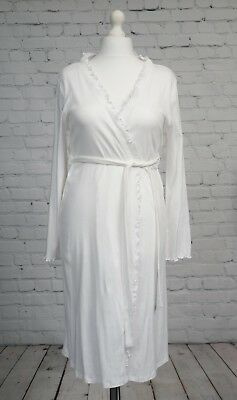 Blooming Marvelous White Ruffle Edge Maternity Dressing Gown Wrap Size M 12-14
