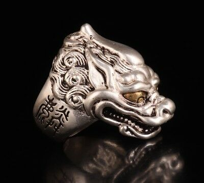 Vintage Silver Ring Statue Old Decorative Fashion Sacred Dragon Head Collection