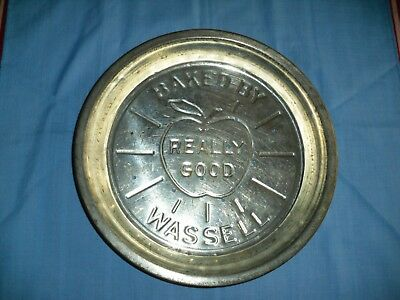 "Vintage Really Good Baked by Wassell Pie Tin,,  9 1/2"",  Metal, Neat Graphics"