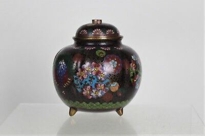 Fine Japanese Cloisonne Bulb Shaped Lidded Tri Footed Pot with Opal Knob to Lid