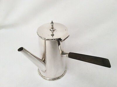 Rare 19th Century Silver On Copper Hot Chocolate Pot Ebonised Wooden Handle