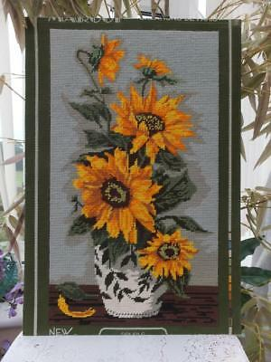 Vintage Completed Wool Tapestry Needlework Picture Panel Yellow Sun Flower Vase