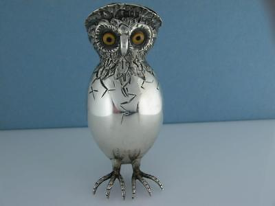 Rare Silver Novelty Holder Pin Cushion Chick / Owl hatching egg ~ London 1891