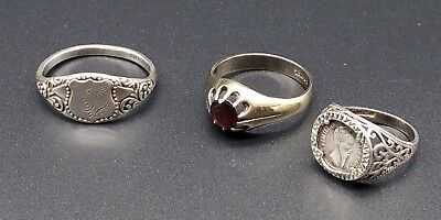 Interesting Lot of Mixed Vintage Sterling Silver Signet Rings