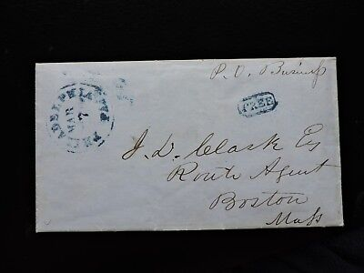 1853 Stampless Letter Washington Dc President Franklin Pierce Inauguration !! Pa