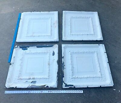 "Antique Vtg 4 Tin 24"" X 24"" Architectural Salvage Pressed Ceiling Metal Tiles"